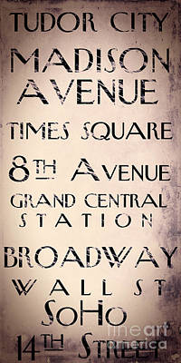 New York City Street Sign Poster by Mindy Sommers