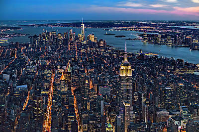 New York City View From The Sky Poster by Susan Candelario