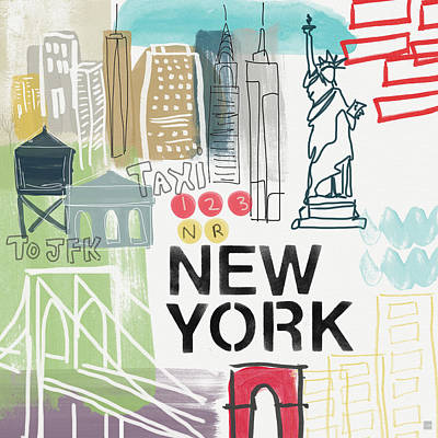 New York Cityscape- Art By Linda Woods Poster by Linda Woods
