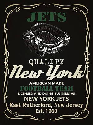 New York Jets Whiskey Poster by Joe Hamilton
