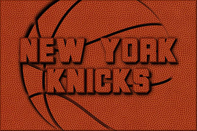 New York Knicks Leather Art Poster by Joe Hamilton