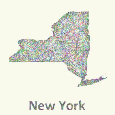 New York Line Art Map Poster by David Zydd