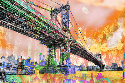 New York City Manhattan Bridge Gold Poster by Tony Rubino