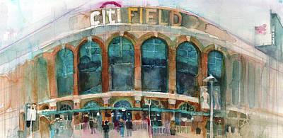 New York Mets Art Print Citifield Poster by Dorrie Rifkin