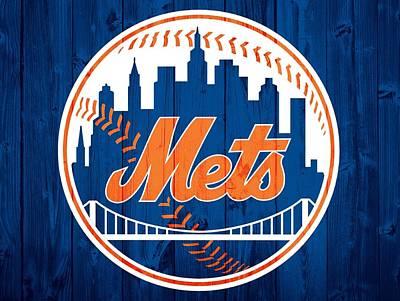 New York Mets Barn Door Poster by Dan Sproul