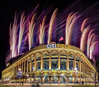 New York Mets Citi Field Fireworks Poster by Susan Candelario