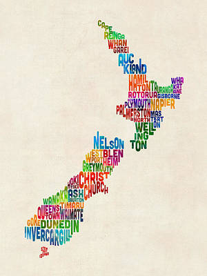 New Zealand Typography Text Map Poster by Michael Tompsett