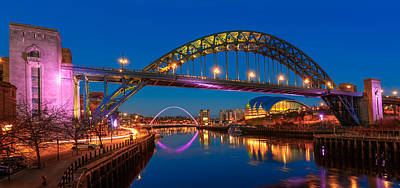 Newcastle Tyne Bridge And Sage At Blue Hour Poster by John Brown