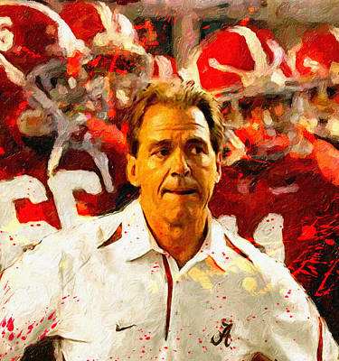 Nick Saban Roll Tide Two Poster by John Farr