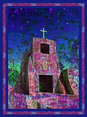 Night Magic San Miguel Mission Poster by Kurt Van Wagner