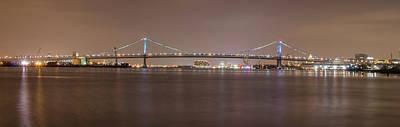 Night On The Delaware - The Benjamin Franklin Bridge Poster by Bill Cannon