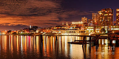 Night Panorama Of Fisherman's Wharf And Ghirardelli Square - San Francisco California Poster by Silvio Ligutti
