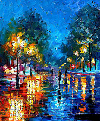 Night Park 2 - Palette Knife Oil Painting On Canvas By Leonid Afremov Poster by Leonid Afremov