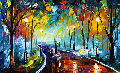 Night Park 3 - Palette Knife Oil Painting On Canvas By Leonid Afremov Poster by Leonid Afremov