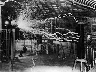 Nikola Tesla - Bolts Of Electricity Poster by War Is Hell Store