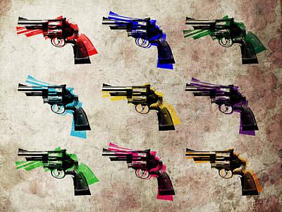 Nine Revolvers Poster by Michael Tompsett