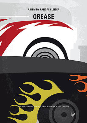 No674 My Grease Minimal Movie Poster Poster by Chungkong Art