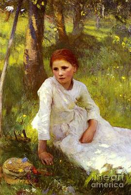 Noon In The Hayfield Poster by George Clausen