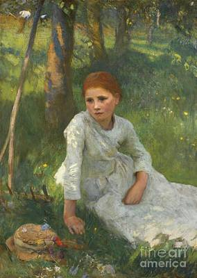 Noon In The Hayfield Poster by Sir George Clausen