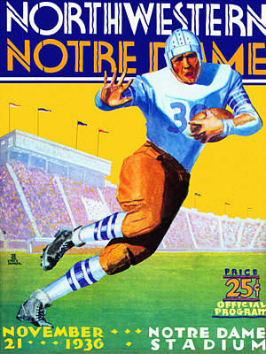 Notre Dame Versus Northwestern 1930 Program Poster by Big 88 Artworks