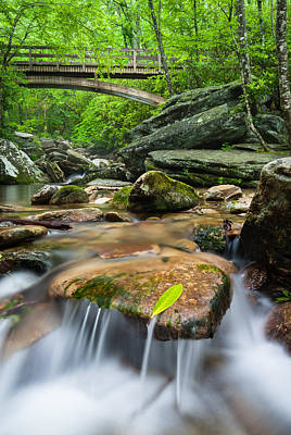 North Carolina Mountain Stream Beneath Tanawha Trail Wooden Bridge Poster by Mark VanDyke