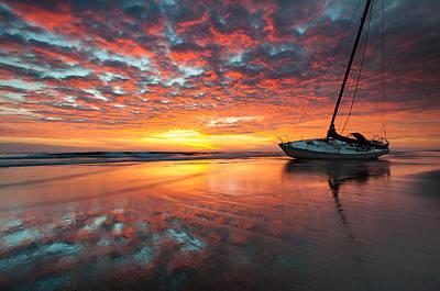 North Carolina Outer Banks Cape Hatteras National Seashore Shipwreck Sunrise Poster by Mark VanDyke