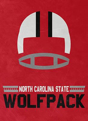 North Carolina State Wolfpack Vintage Football Art Poster by Joe Hamilton