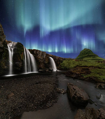 Northern Lights At Kirkjufellsfoss Waterfalls Iceland Poster by Larry Marshall