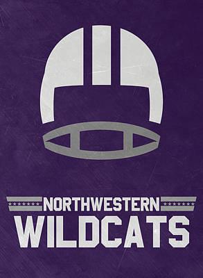 Northwestern Wildcats Vintage Football Art Poster by Joe Hamilton