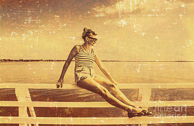 Nostalgic Pier Pinup Girl Poster by Jorgo Photography - Wall Art Gallery