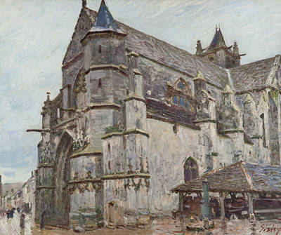Notre-dame De Moret In The Morning Rain Poster by Alfred Sisley