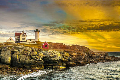 Nubble Lighthouse At Sunset Poster by Ken Marsh
