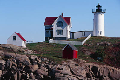 Nubble Point Lighthouse Poster by George Oze