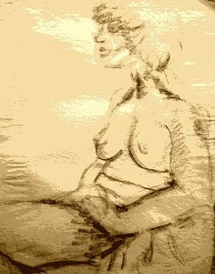 Nude Female Seated  Poster by Sheri Parris