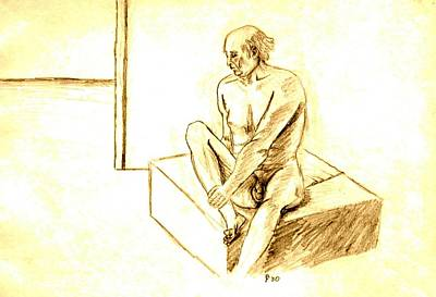 Nude Male Holding Leg Poster by Sheri Parris