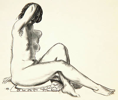 Nude Study, Girl Sitting On A Flowered Cushion Poster by George Wesley Bellows