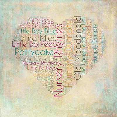 Nursery Rhymes Heart Poster by Brandi Fitzgerald