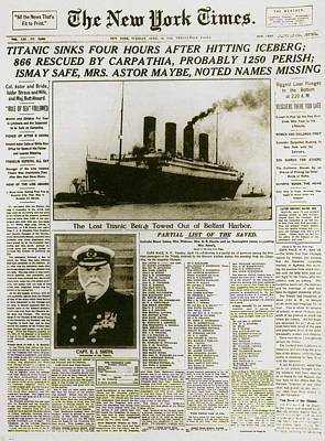 Ny Times, Sinking Of The Titanic, 1912 Poster by Photo Researchers