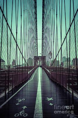 Nyc Brooklyn Bridge Bwr Poster by Edward Fielding