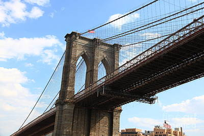 Nyc Brooklyn Bridge Midday Li Poster by Wayne Moran
