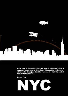 Nyc Night Poster Poster by Naxart Studio