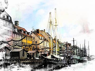 Nyhavn Harbour Impressions Poster by Dorothy Berry-Lound