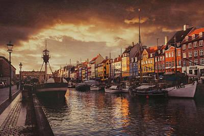 Nyhavn Sunset Copenhagen Poster by Carol Japp