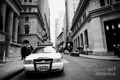 Nypd Police Patrol Car Parked In Wall Street Downtown New York City Poster by Joe Fox