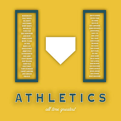 Oakland Athletics Greatest Poster by Damon Gray