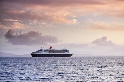 Ocean Liner Sunset Poster by Grant Glendinning