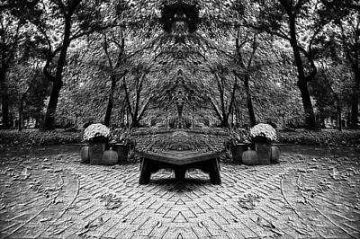 October On The Woodland Path Pa Mirror Image Bw Poster by Thomas Woolworth