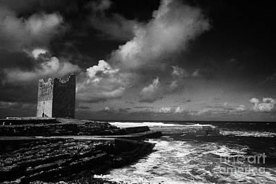 O'dowds Rosslea Castle And Easkey Pier Easkey County Sligo Republic Of Ireland Poster by Joe Fox