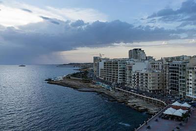 Offshore Rainstorm - Sliema's Famous Promenade Waking Up Poster by Georgia Mizuleva