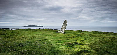 Ogham Stone At Dunmore Head, Dingle Poster by James Brown